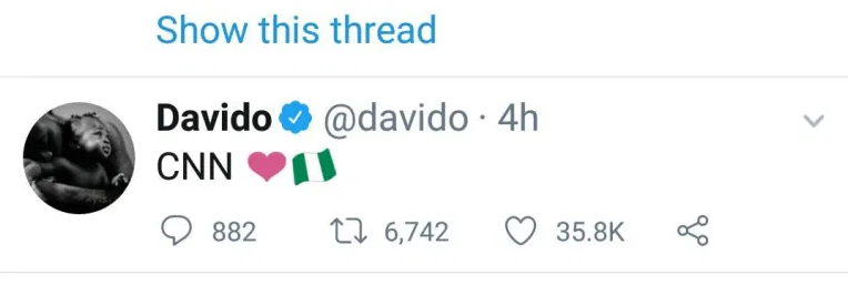 Davido showered accolades on CNN as the releases a footage from the Lekki shooting