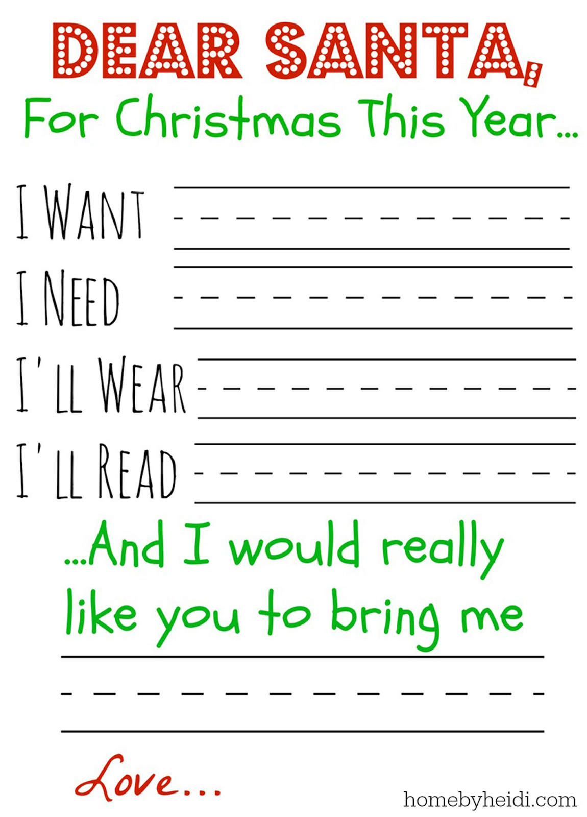 Home By Heidi: Letter to Santa