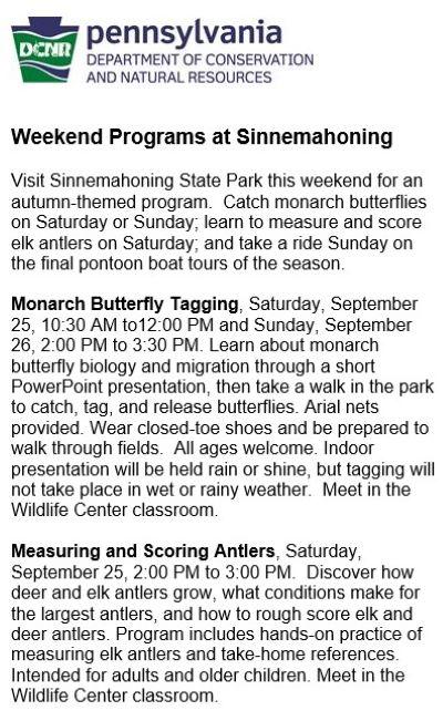 9-25 Sinnemahoning State Park Programs