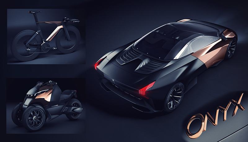 the peugeot onyx concept vehicles - supercar, bike and scooter