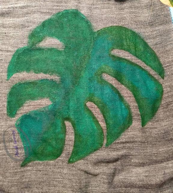 Adzik tworzy - ekotorba z liściem monstery ręcznie malowana