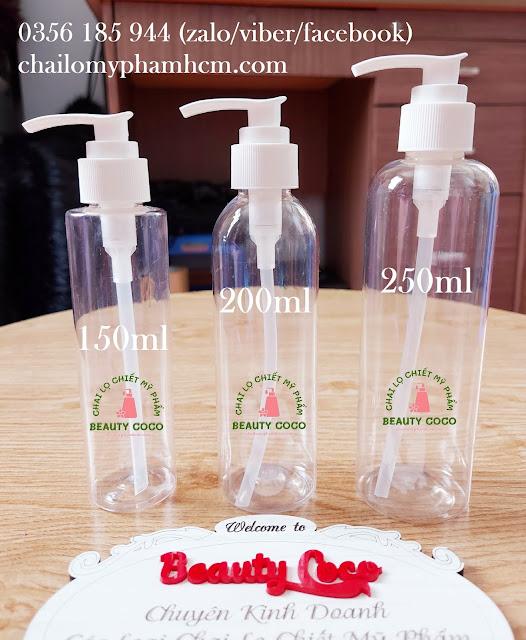 Chai nhựa PET ấn xịt giọt 150ml 200ml 250ml đựng nước rửa tay