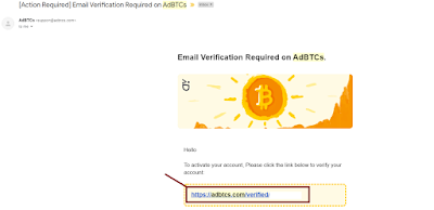Adbtcs's confirmation email