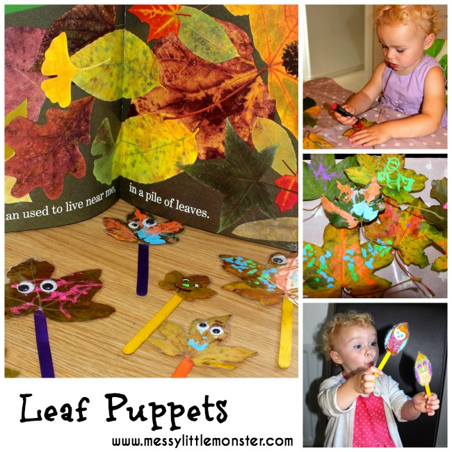 Leaf puppet activity inspired by the book 'Leaf Man'.  A simple fall/ autumn craft idea for toddlers and preschoolers.  Great pre-writing activity.