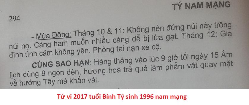 Xem tử vi 2017 Bính Tý 1996 nam mạng