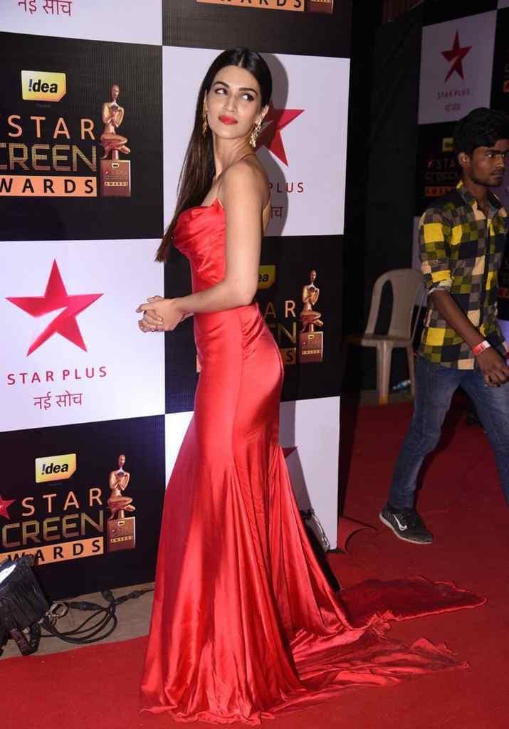 Kriti Sanon Spicy Red Deep neck Sleeveless Gown Stunning Pics