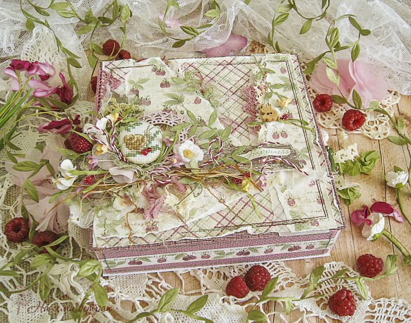 Открытка-коробочка Малиновое счастье улитки