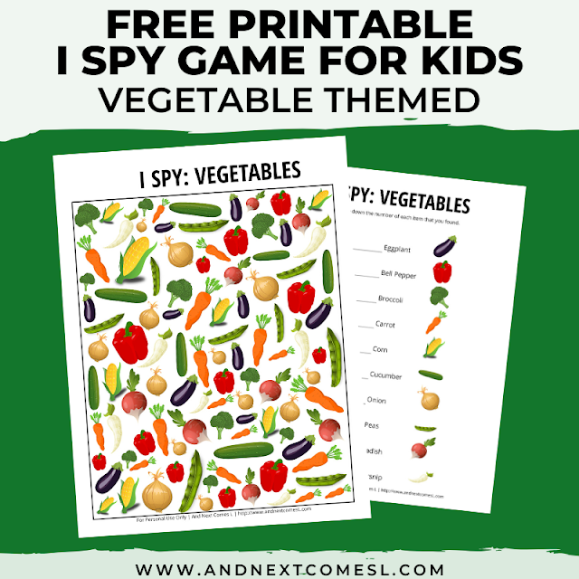 Free I spy game printable for kids: vegetable themed