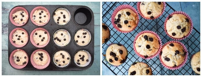 Making choc chip muffins step 5 - muffin cases in tray filled with muffin batter and a photo of finished muffins