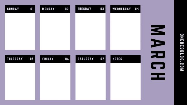 Calendario con notas de marzo del 2020