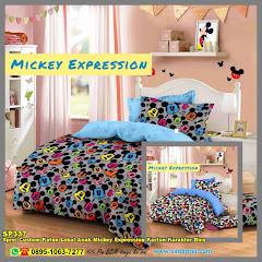 Sprei Custom Katun Lokal Anak Mickey Expression Kartun Karakter Biru