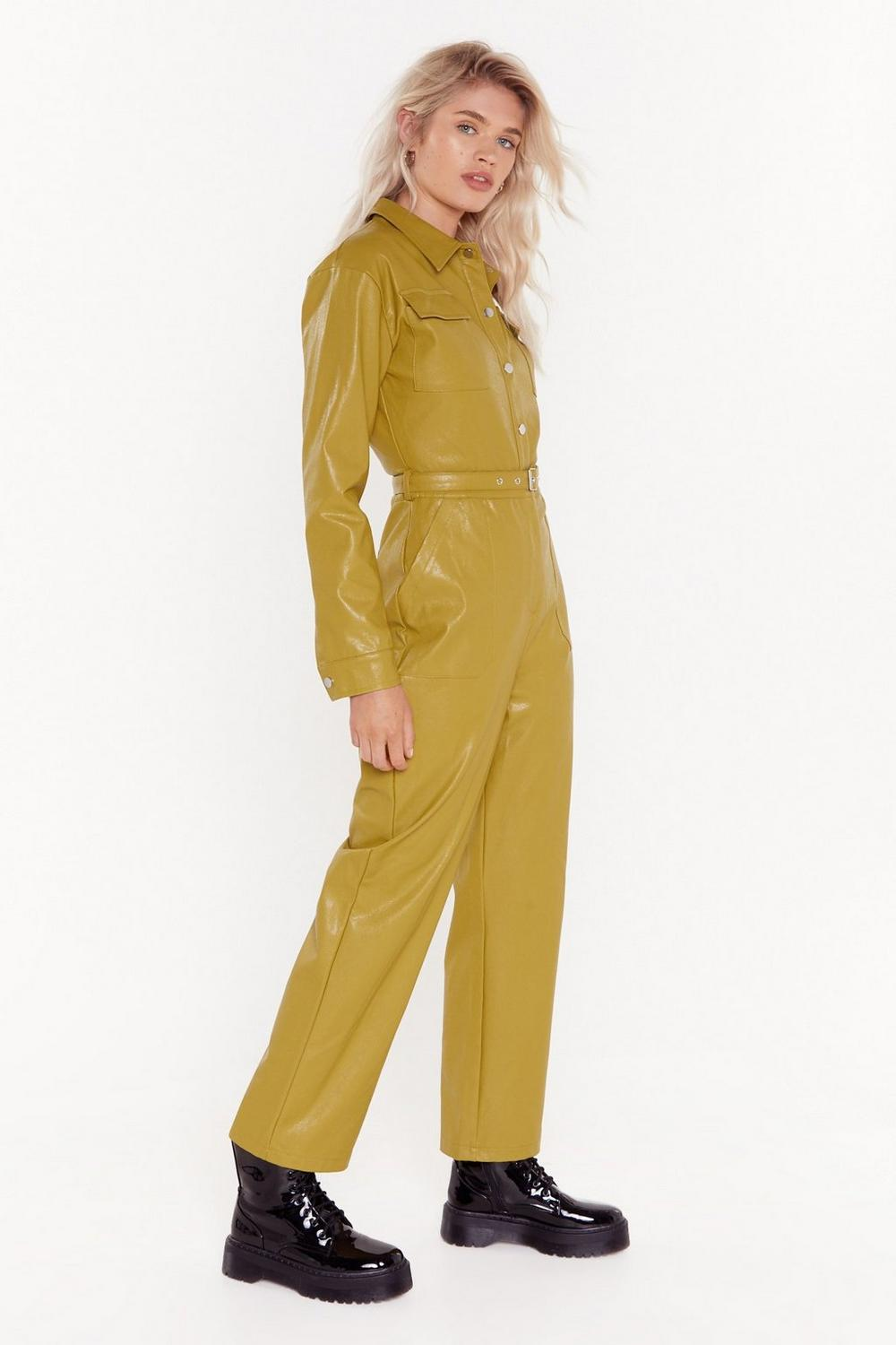 Life on Mars Faux Leather Belted Jumpsuit