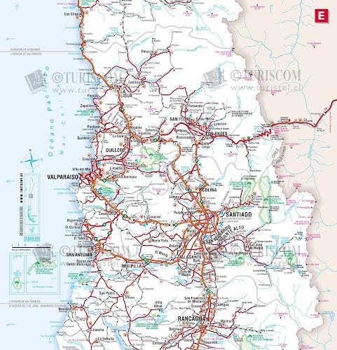 Mapa da região de Valparaíso e área metropolitana de Santiago