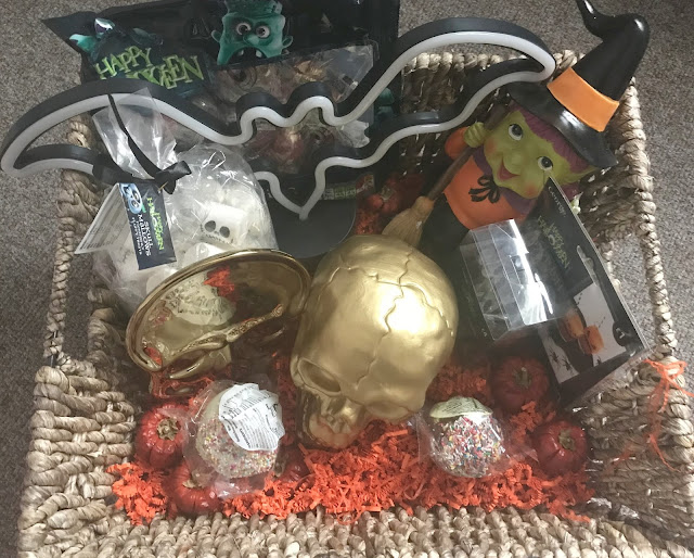 hamper filled with Halloween decorations from Asda