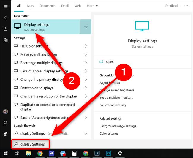 مايكروسوفت ويندوز 10 ابدأ قائمة إعدادات العرض