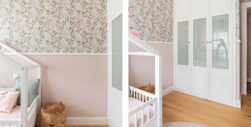 Dormitorio infantil con dos tipos de papel pintado en la pared
