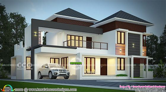 2443 sq-ft elegant looking modern mixed roof house