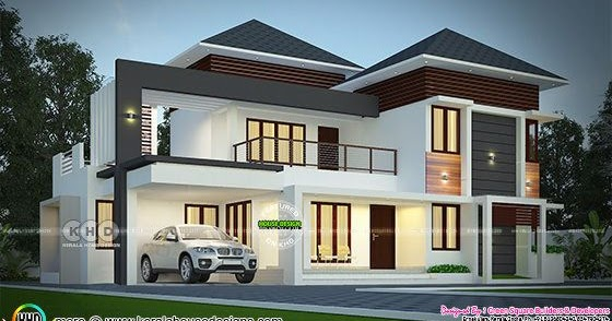2443 Sq Ft Elegant Looking Modern Mixed Roof House