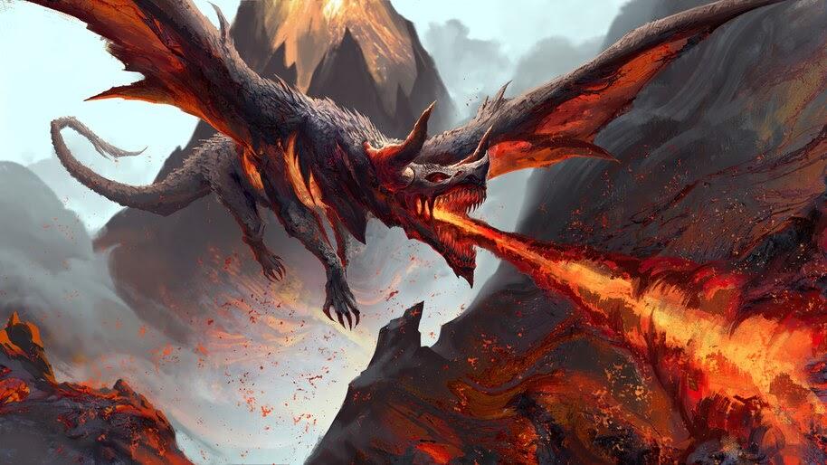 Dragon, Fire Breath, Fantasy, 4K, #6.2535