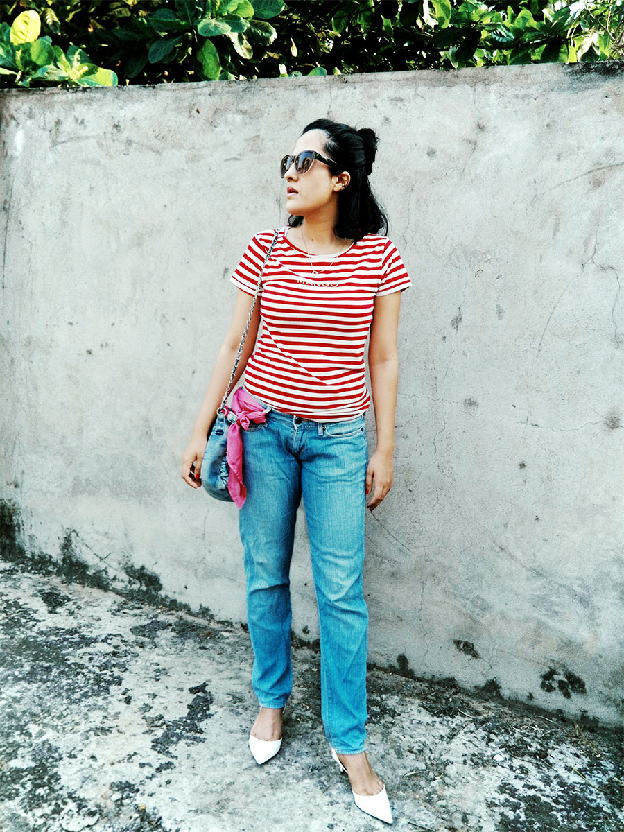 Mango womens Red Stripe T-Shirt , Levi's womens Blue Denim, Zara White Slingback heels,3quickfixestoelevatejeans