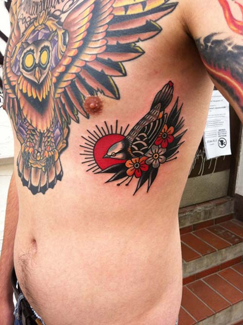 vintage style bird tattoo eski stil kuş dövmesi