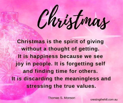 Christmas is the spirit of giving without a thought of getting. It is happiness because we see joy in people. It is forgetting self and finding time for others. It is discarding the meaningless and stressing the true values.