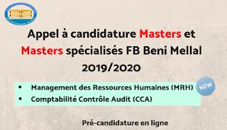 Masters et Masters spécialisés de la FP Beni Mellal 2019-2020
