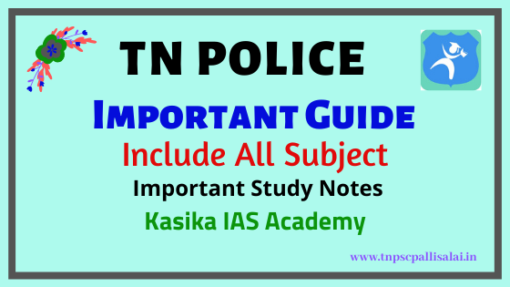 TN Police Exam important Guide