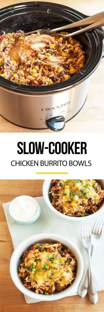 This is my absolute favorite kind of slow cooker recipe — one that takes less than five minutes to pull together and then rewards you with a delicious, healthy dinner at the end of the day. These burrito bowls are full of chili-spiced brown rice, black beans, corn, and yes, tender bites of shredded chicken. Everything gets cooked right in the pot, so all you need to do is dish yourself a bowl and sprinkle with cheese.