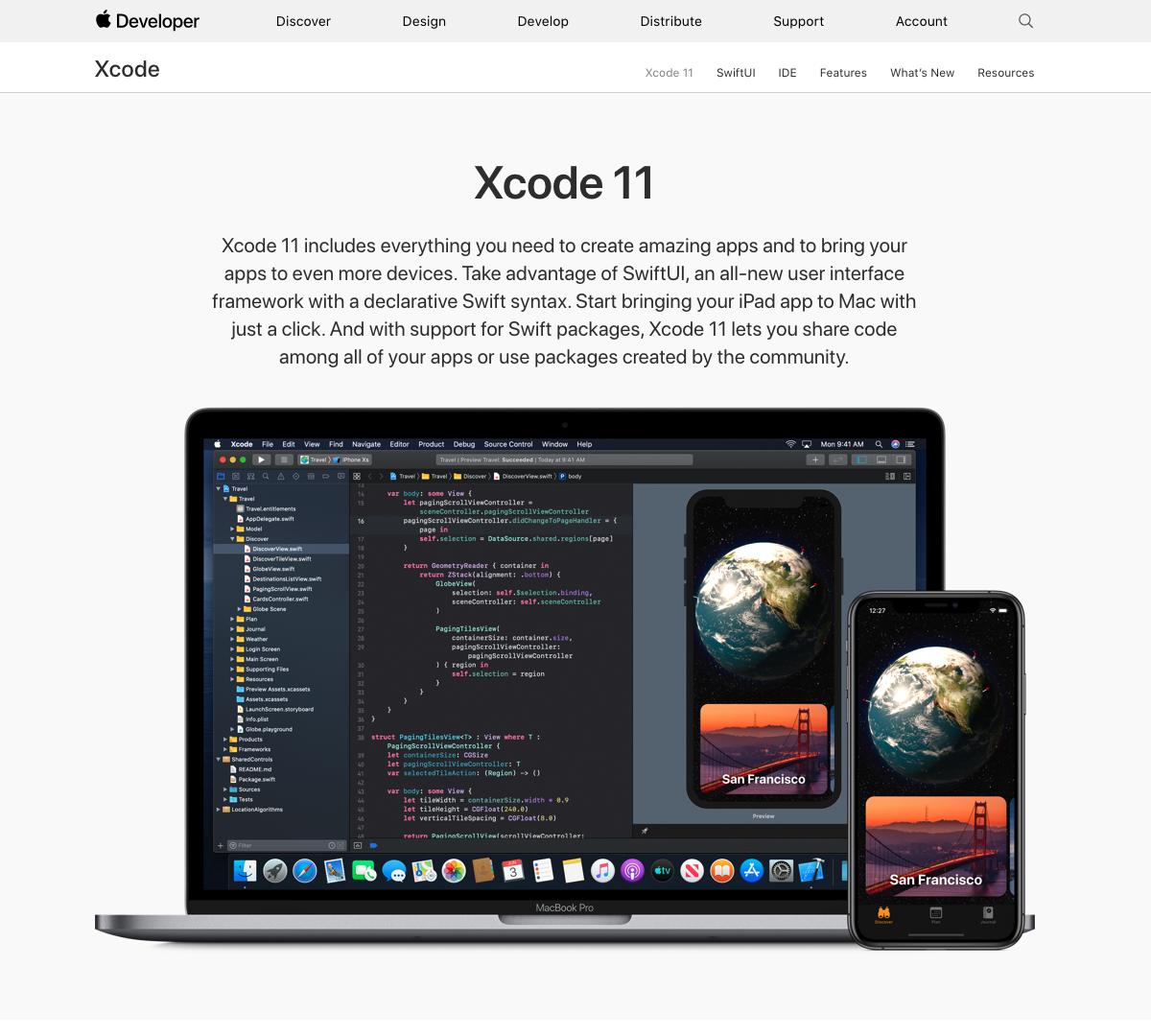 Screenshot della pagina di Apple Developer con Xcode