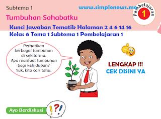 Kunci Jawaban Tematik Halaman 2 4 6 14 16 Kelas 6 Tema 1 Subtema 1 Pembelajaran 1 www.simplenews.me