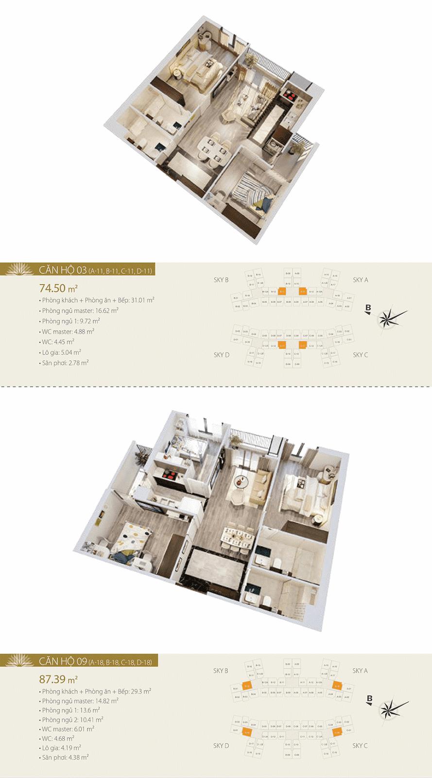 Mặt bằng chi tiết căn hộ 03 và 09 - Imperia Sky Garden