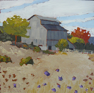Barn in Autumn - Landscape Oil Painting