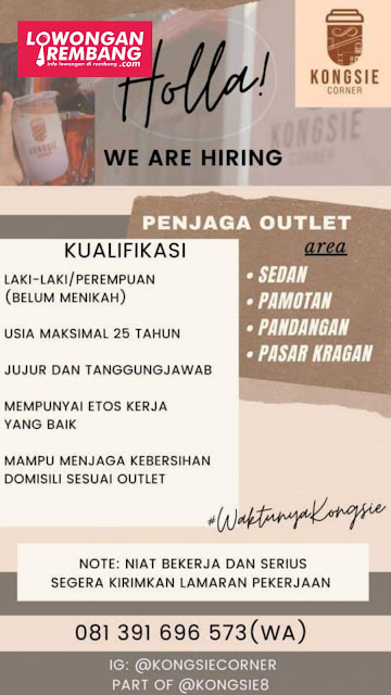 Lowongan Kerja Angkringan Kongsie Area Sedan, Pamotan, Pandangan, Pasar Kragan Rembang