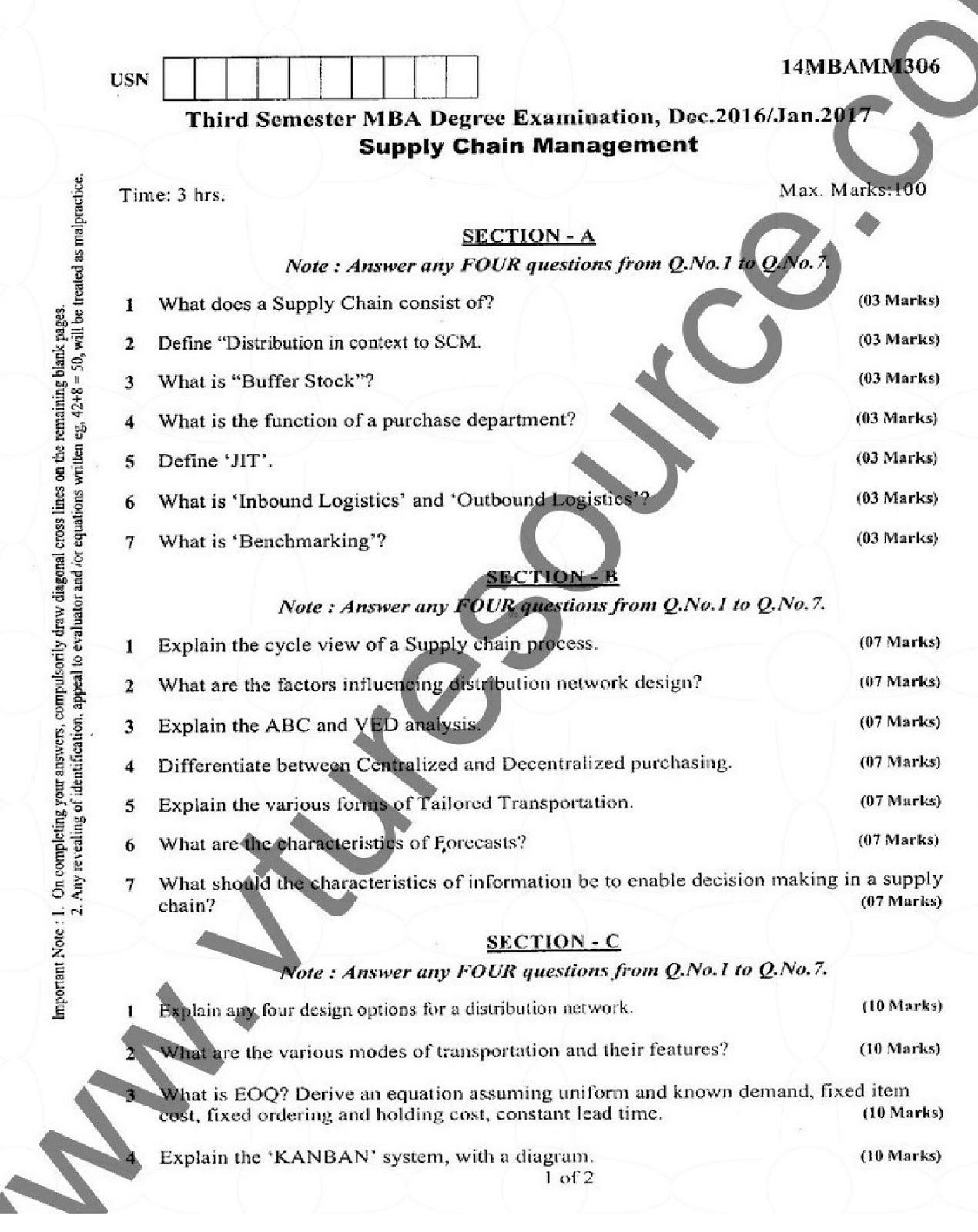 e-Paatashala: VTU MBA Third Semester Question Paper : Supply Chain