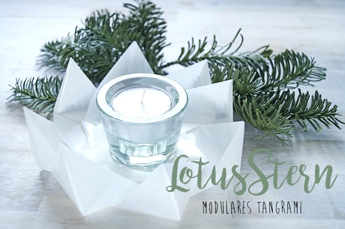 Teelicht im Glas in einem Tangramistern aus Transparentpapier.