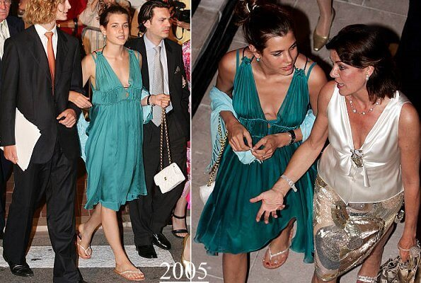 Princess Alexandra's dress was the dress that had been worn by Charlotte Casiraghi in 2005