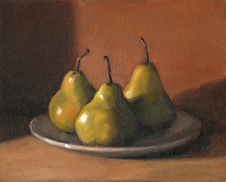 Still life oil painting of three green pears on a plate.