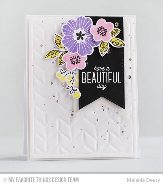 Handmade card from Melania Deasy featuring Bold Blooms stamp set and Die-namics, Stitched Fishtail Flags STAX and Split Chevron Cover-Up Die-namics #mftstamps