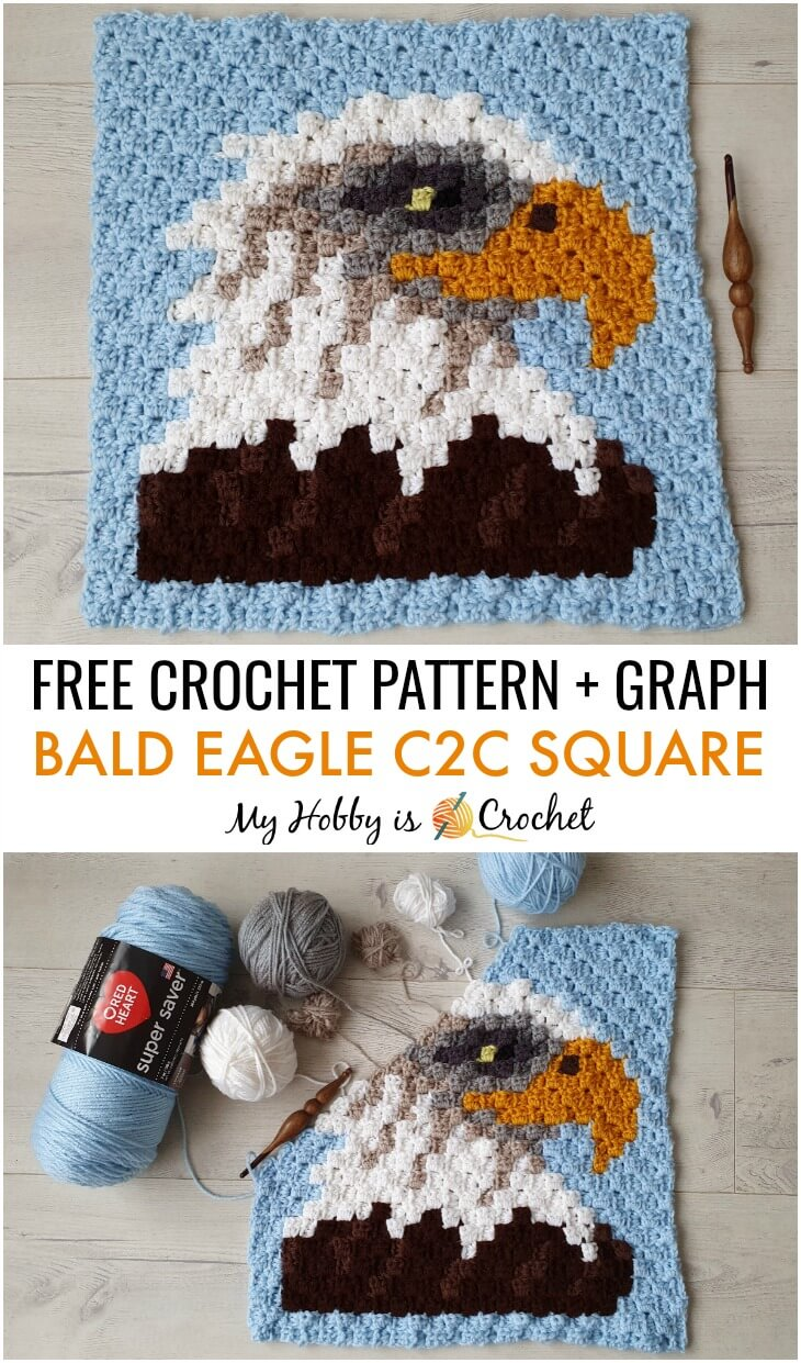 Bald Eagle C2C Square - Free Pattern