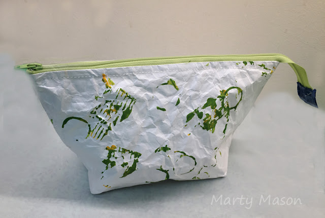 painted tyvek zippered pouch - marty mason