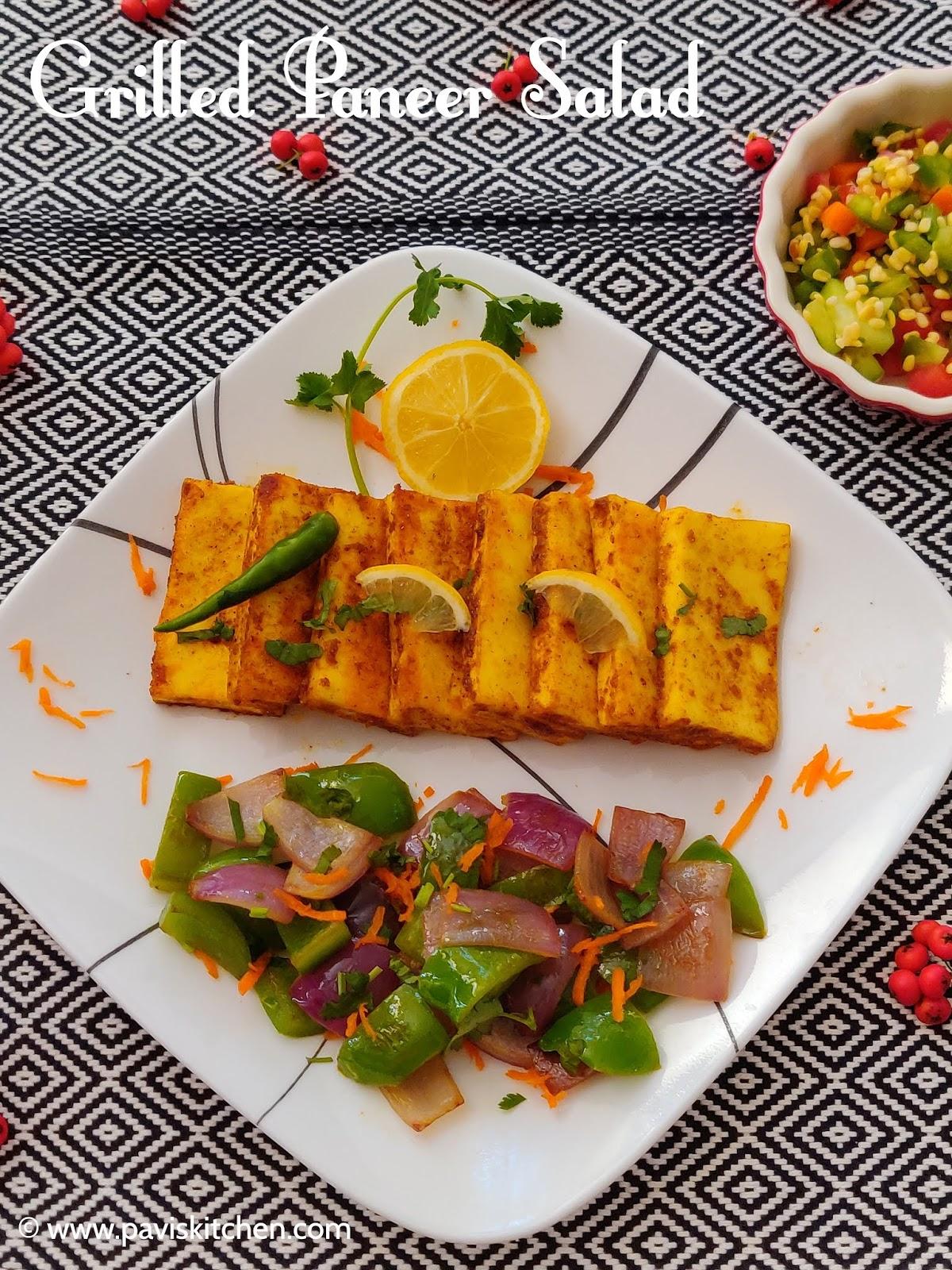 Grilled Paneer Recipe | Homemade Grilled Paneer Salad