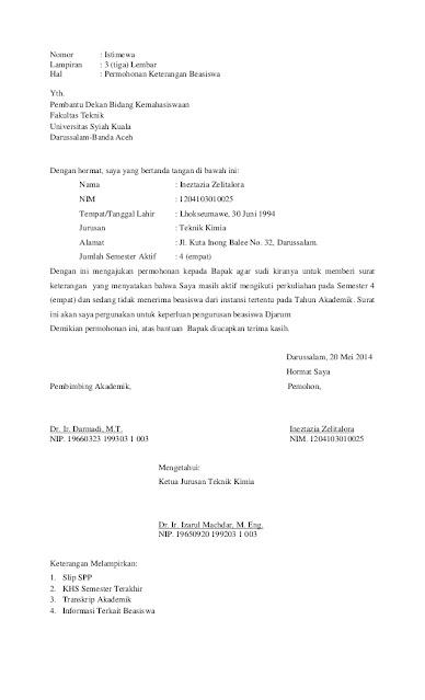 Contoh Surat Permohonan Beasiswa (via: slideshare.net)