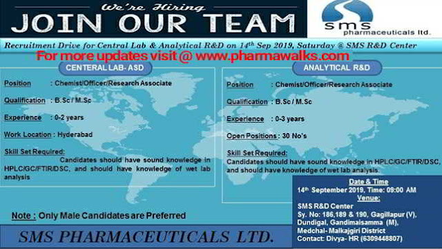 SMS Pharmaceuticals - Walk-in interview for Freshers and Experienced candidates on 15th September, 2019