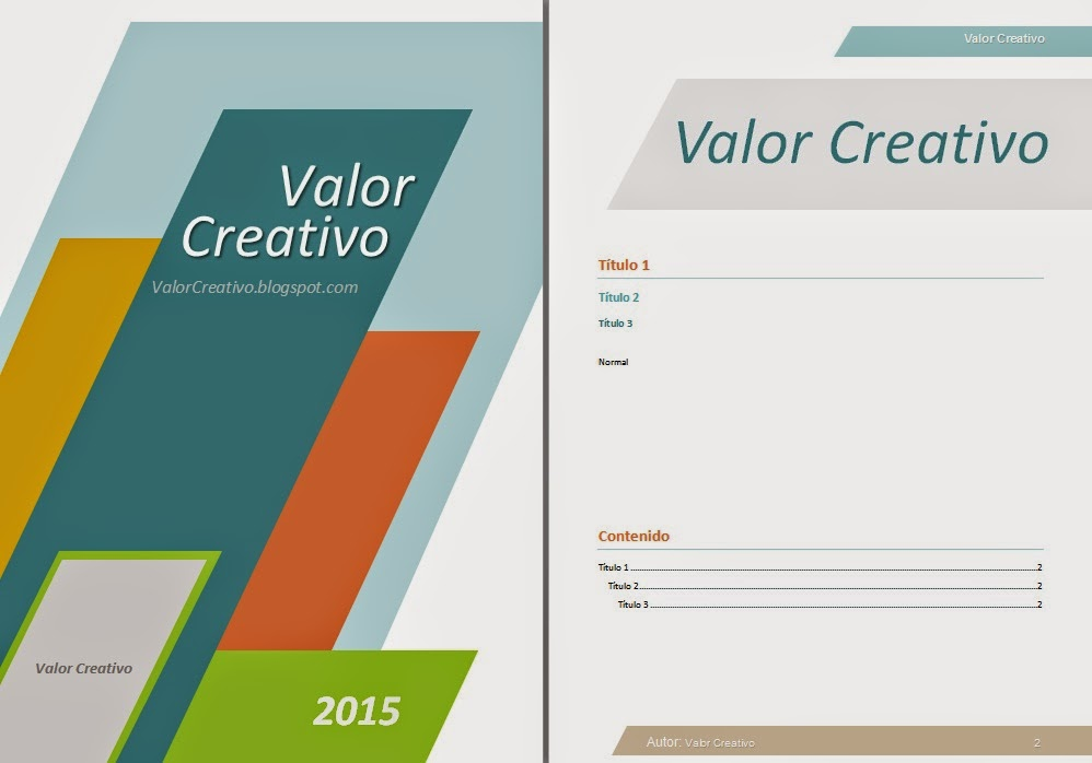 valor creativo  plantilla word