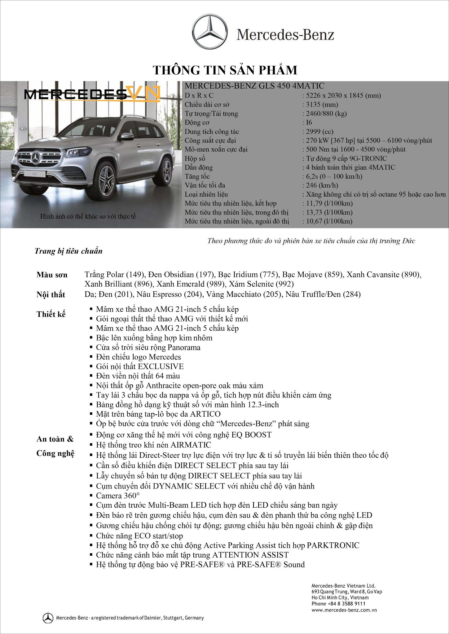 Bảng thông số kỹ thuật Mercedes GLS 450 4MATIC 2021