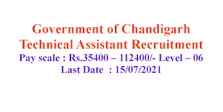 Technical Assistant Recruiment - Government of Chandigarh