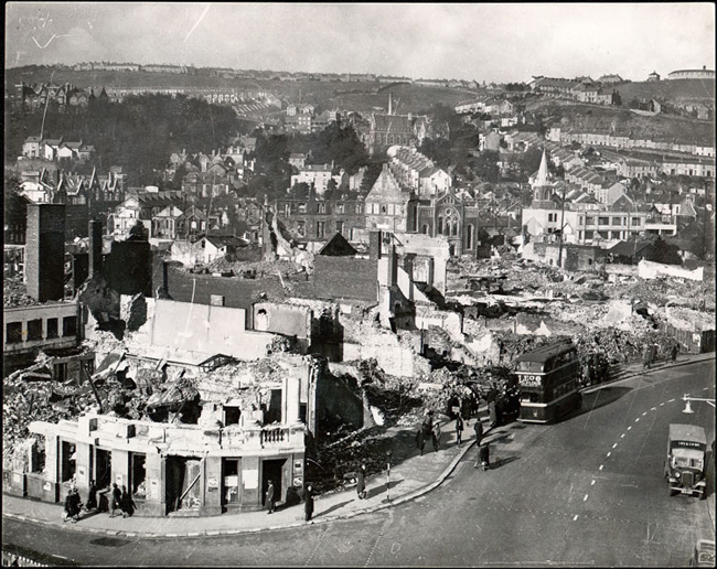 19 February 1941 worldwartwo.filminspector.com Swansea Blitz damage
