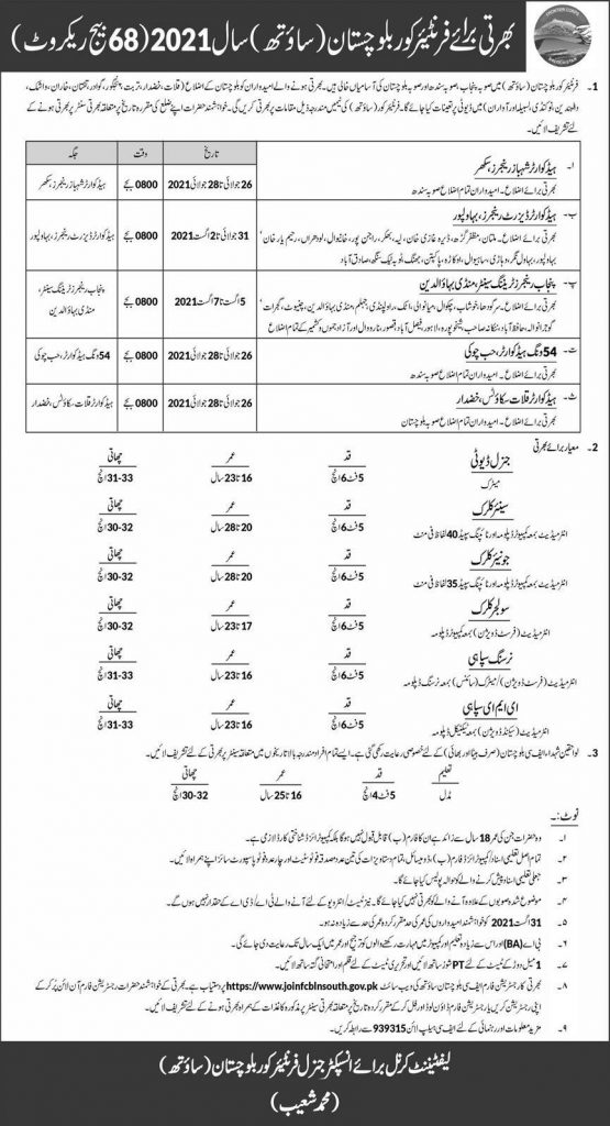 Join Pak Army FC jobs 2021 | How to Apply For Pak Army FC jobs