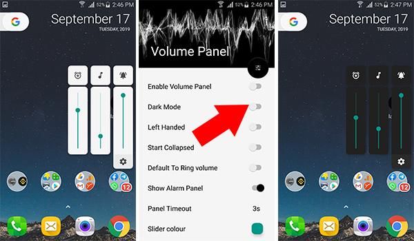 تطبيق Volume Panel يحتوي على الوضع الليلي